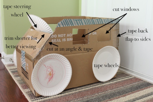 Simply modern mom riding box cars tutorial for How to make a cardboard box car that moves